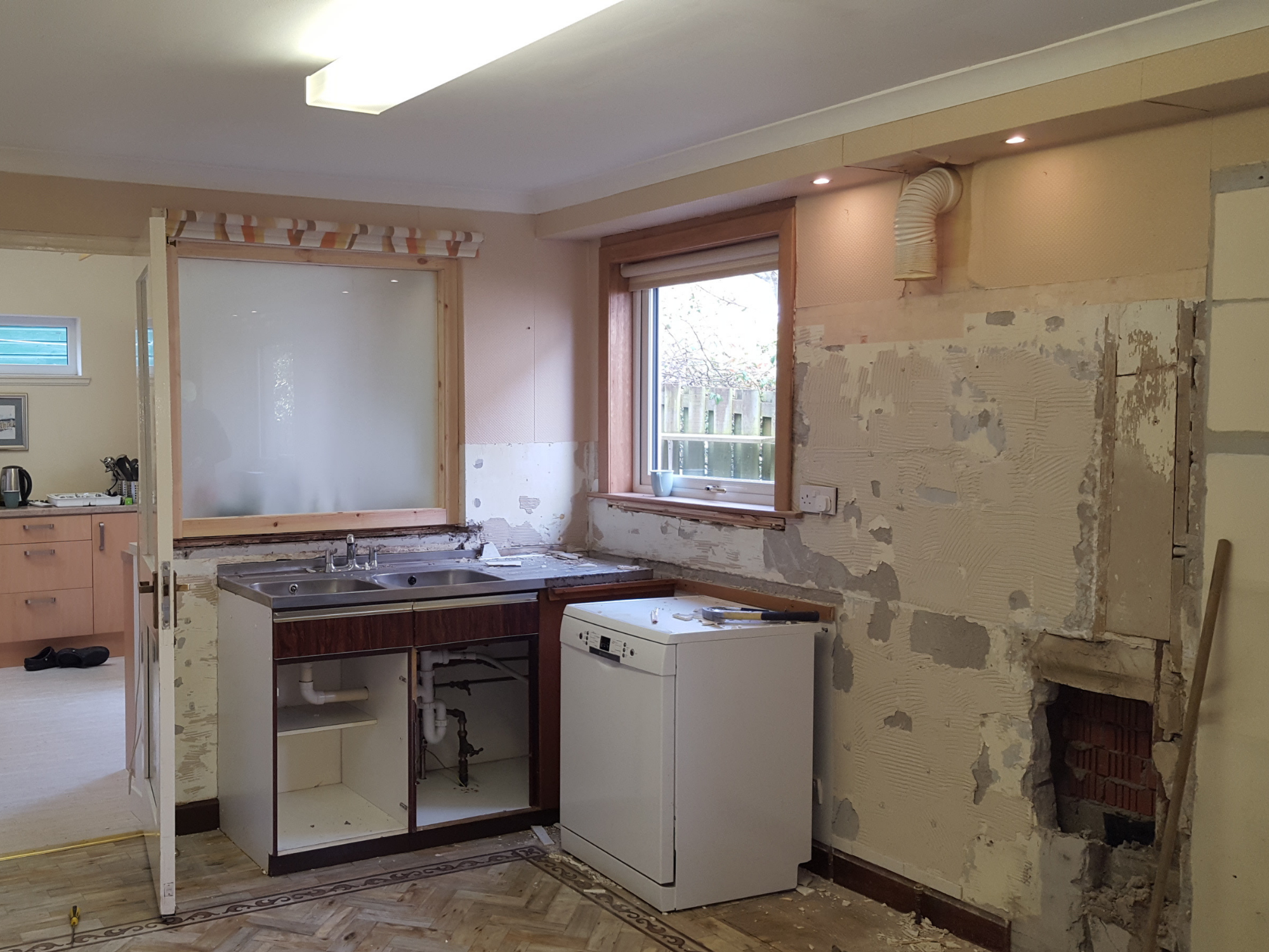 Kitchen during the refit stage with everything ripped out