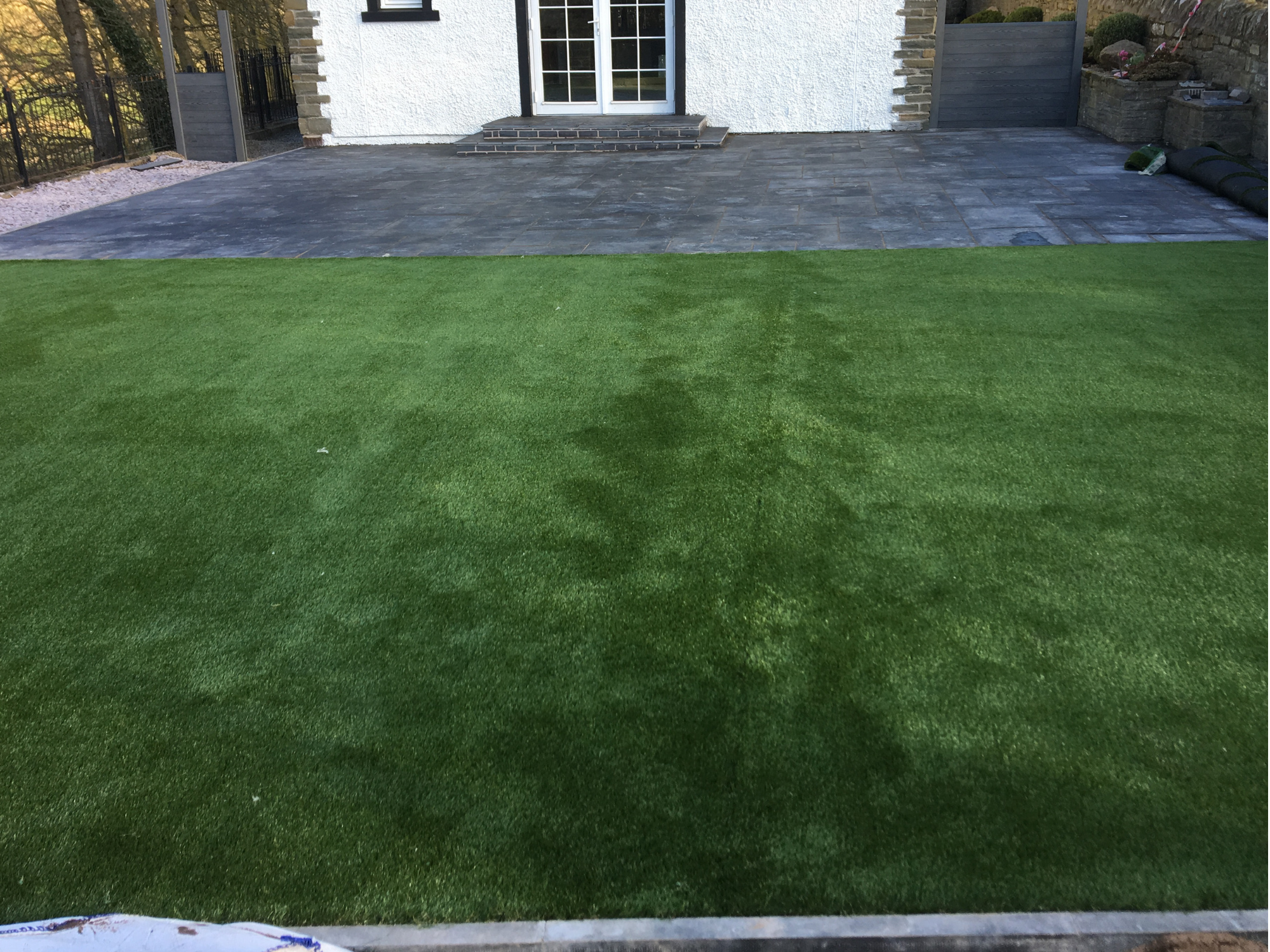 new grass laid in a garden